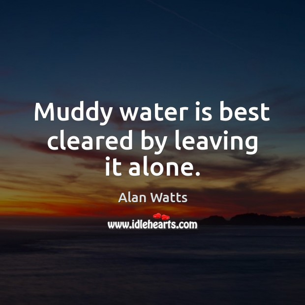 Muddy water is best cleared by leaving it alone. Alan Watts Picture Quote