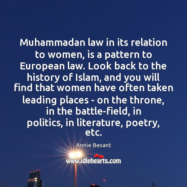Image, Muhammadan law in its relation to women, is a pattern to European