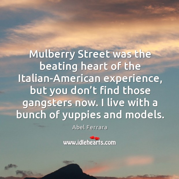 Mulberry street was the beating heart of the italian-american experience, but you don't find those gangsters now. Image