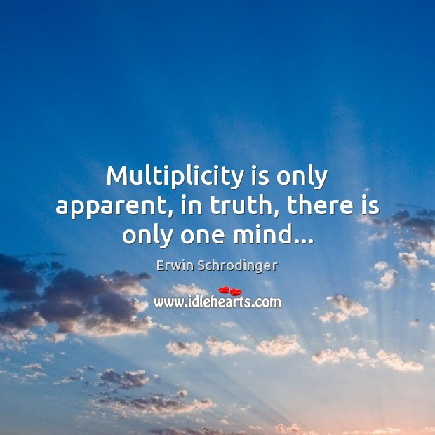 Multiplicity is only apparent, in truth, there is only one mind… Erwin Schrodinger Picture Quote