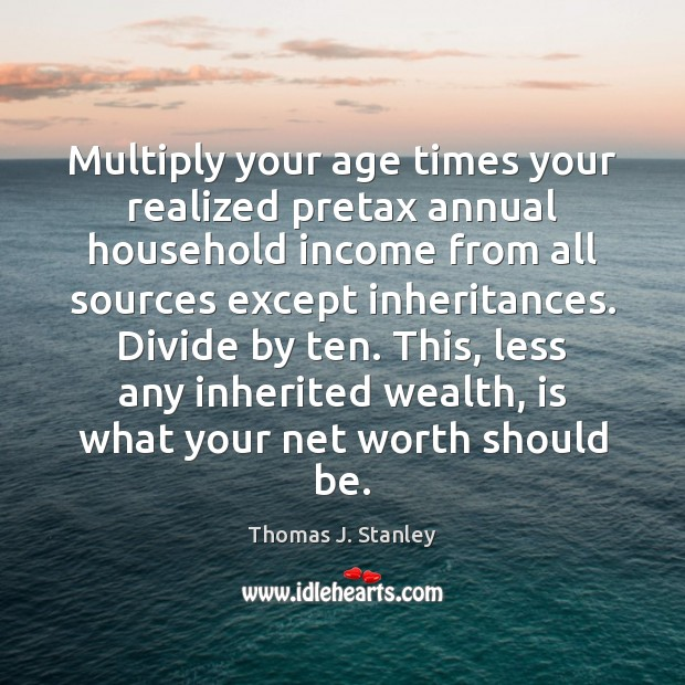 Multiply your age times your realized pretax annual household income from all Image