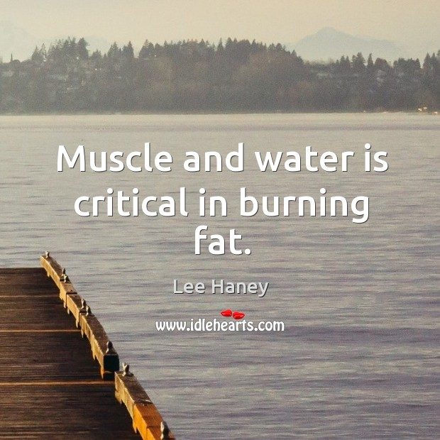 Muscle and water is critical in burning fat. Image