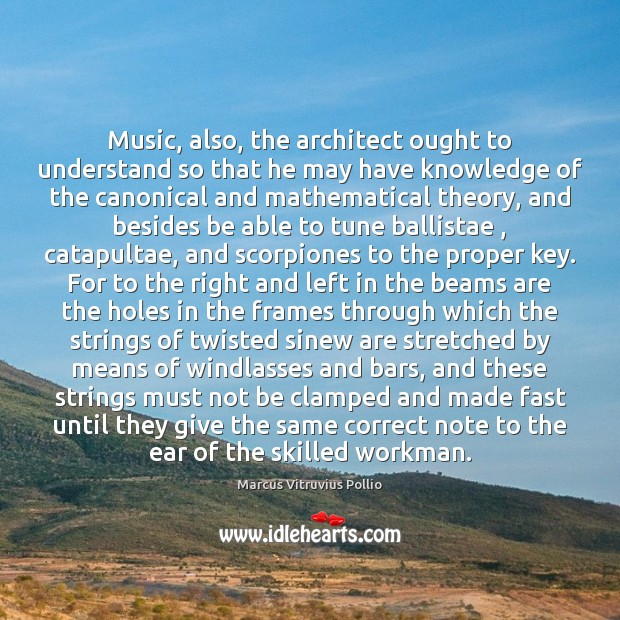 Image, Music, also, the architect ought to understand so that he may have