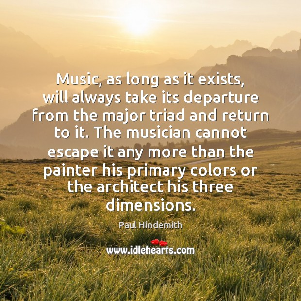 Music, as long as it exists, will always take its departure from Image