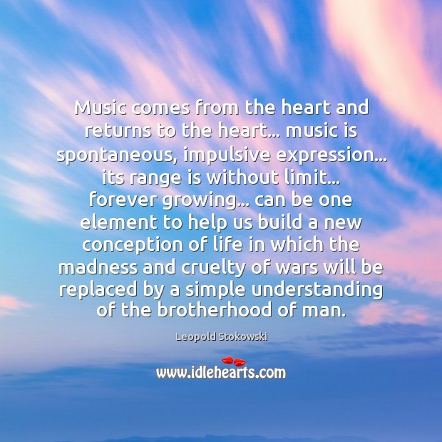 Music comes from the heart and returns to the heart… music is Image