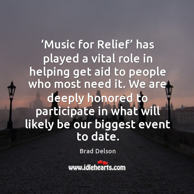 Image, Music for relief has played a vital role in helping get aid to people who most need it.