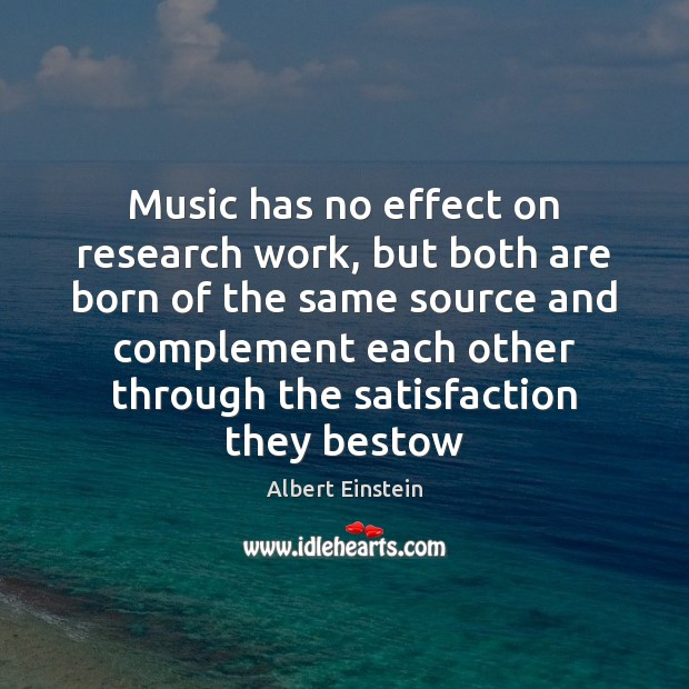 Image, Music has no effect on research work, but both are born of