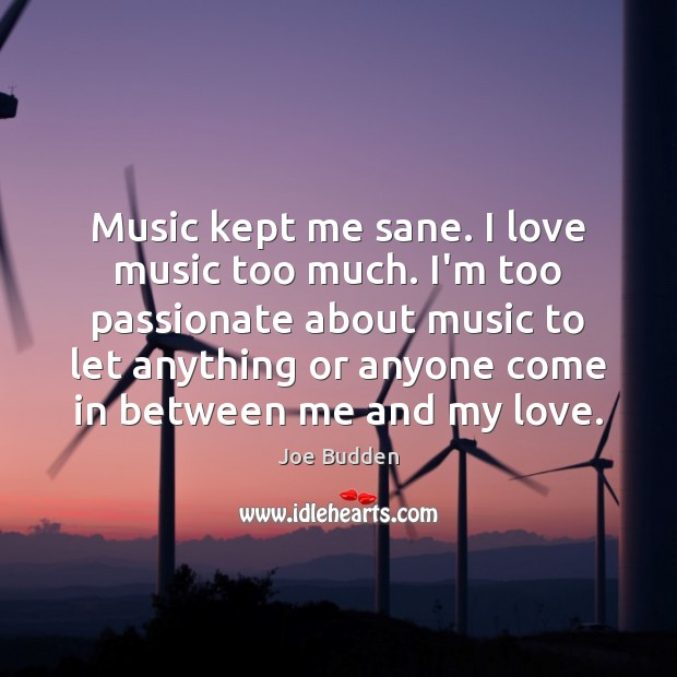 Music kept me sane. I love music too much. I'm too passionate Image