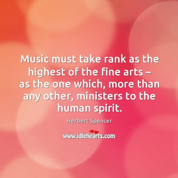 Image, Music must take rank as the highest of the fine arts – as the one which