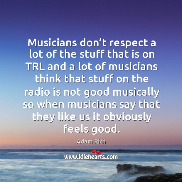 Image, Musicians don't respect a lot of the stuff that is on trl and a lot of musicians think that