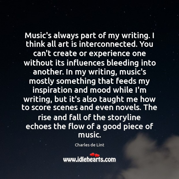 Music's always part of my writing. I think all art is interconnected. Charles de Lint Picture Quote