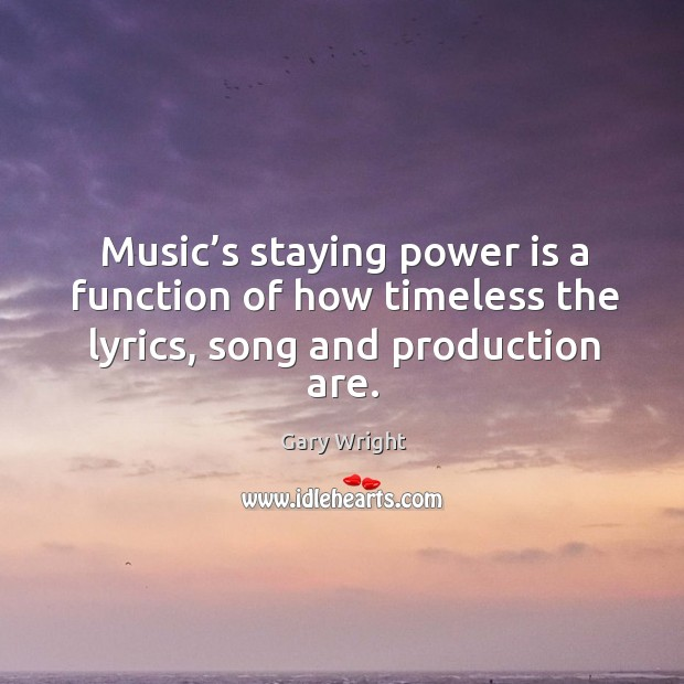 Image, Music's staying power is a function of how timeless the lyrics, song and production are.