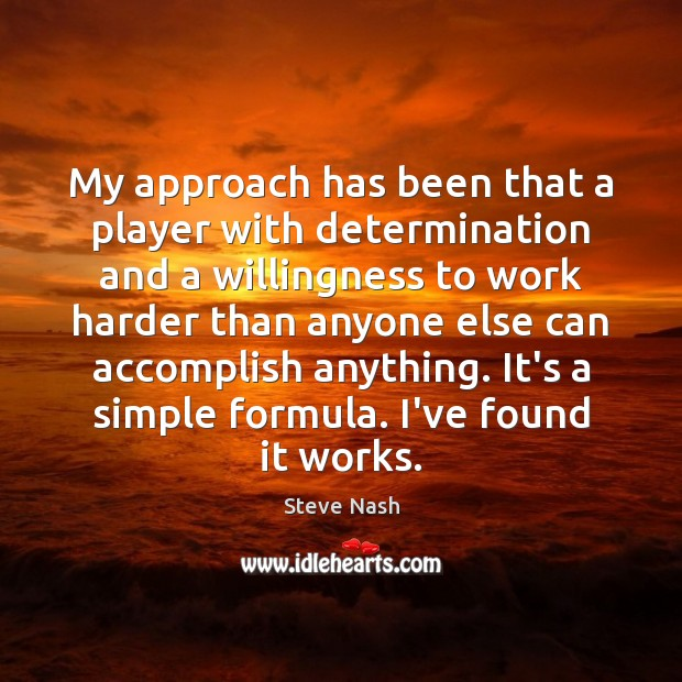 My approach has been that a player with determination and a willingness Image
