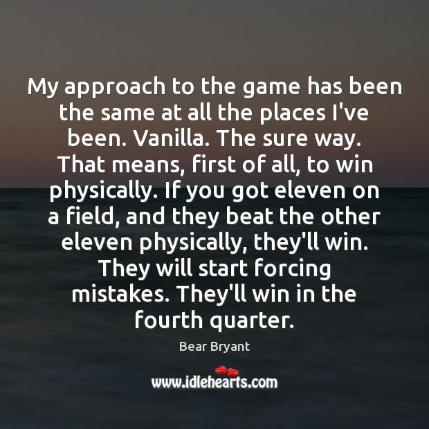 My approach to the game has been the same at all the Image