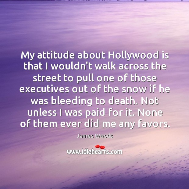 My attitude about Hollywood is that I wouldn't walk across the street James Woods Picture Quote