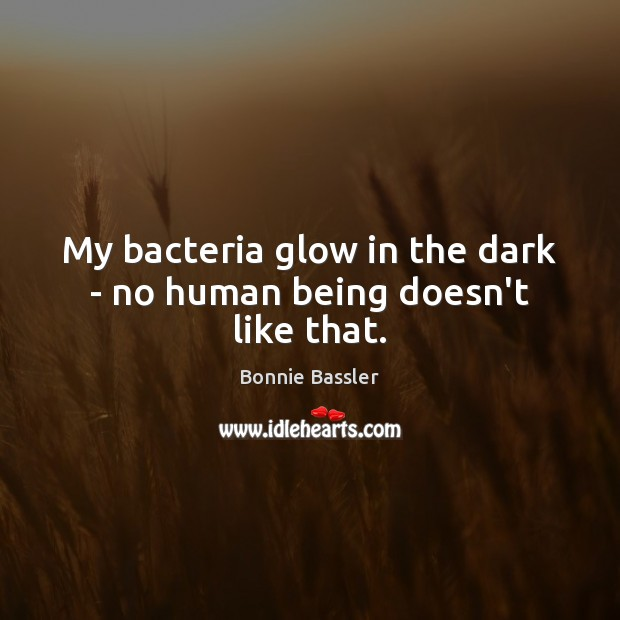 Image, My bacteria glow in the dark – no human being doesn't like that.
