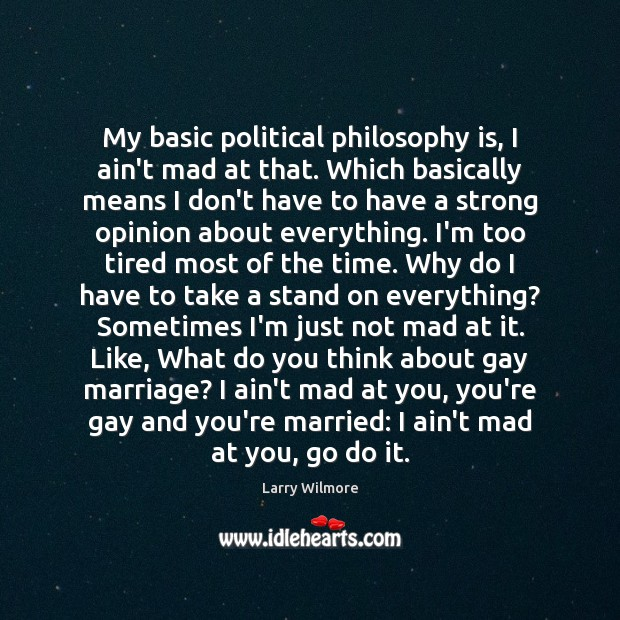 My basic political philosophy is, I ain't mad at that. Which basically Image