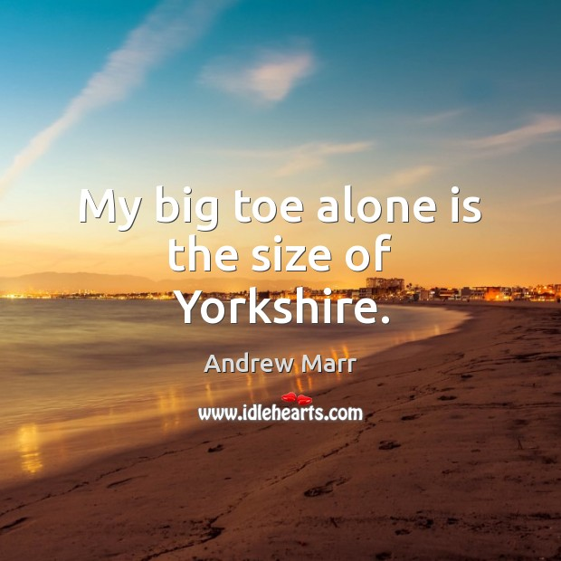 My big toe alone is the size of Yorkshire. Image