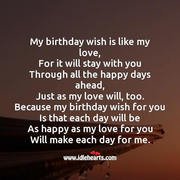 My birthday wish is like my love Image