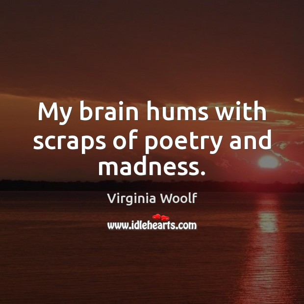 Image, My brain hums with scraps of poetry and madness.