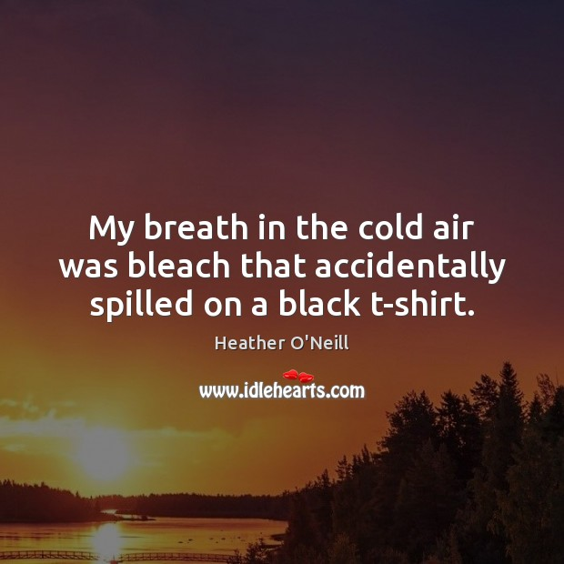 My breath in the cold air was bleach that accidentally spilled on a black t-shirt. Image