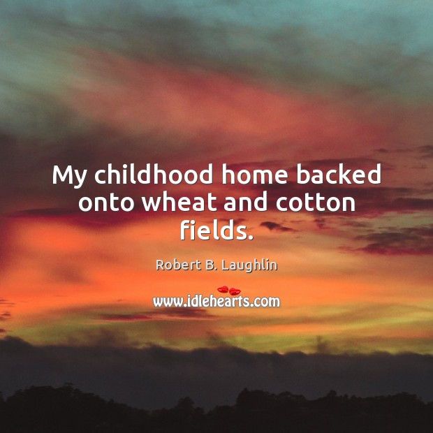 Image, My childhood home backed onto wheat and cotton fields.
