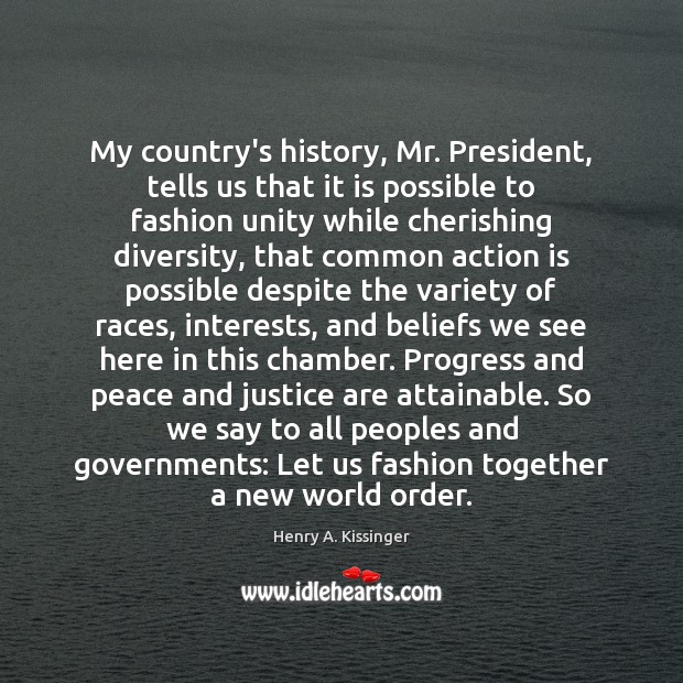 Image, My country's history, Mr. President, tells us that it is possible to