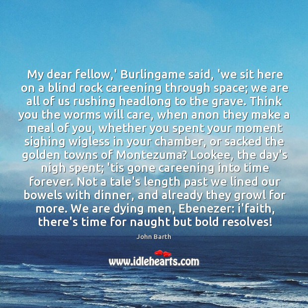 My dear fellow,' Burlingame said, 'we sit here on a blind John Barth Picture Quote