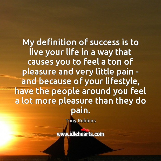 My definition of success is to live your life in a way Image