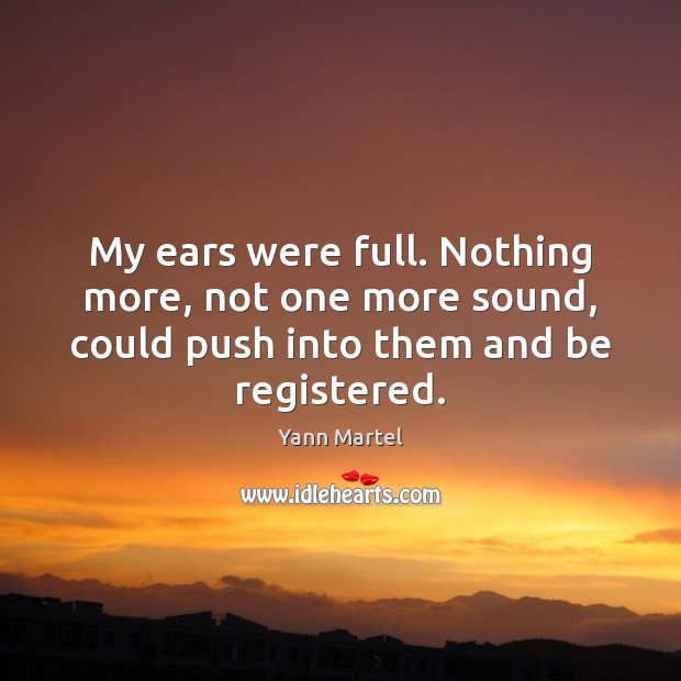 My ears were full. Nothing more, not one more sound, could push Yann Martel Picture Quote