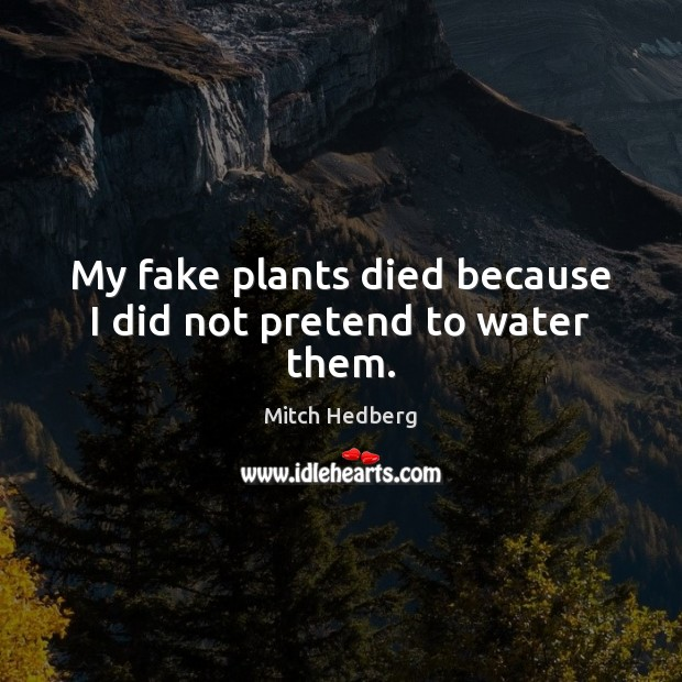 My fake plants died because I did not pretend to water them. Image