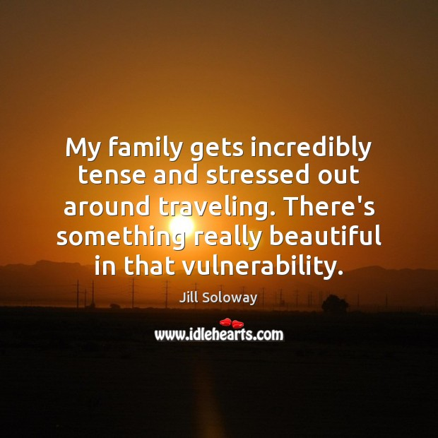 My family gets incredibly tense and stressed out around traveling. There's something Jill Soloway Picture Quote