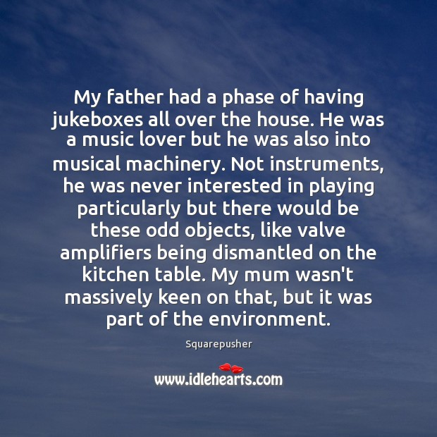 My father had a phase of having jukeboxes all over the house. Environment Quotes Image
