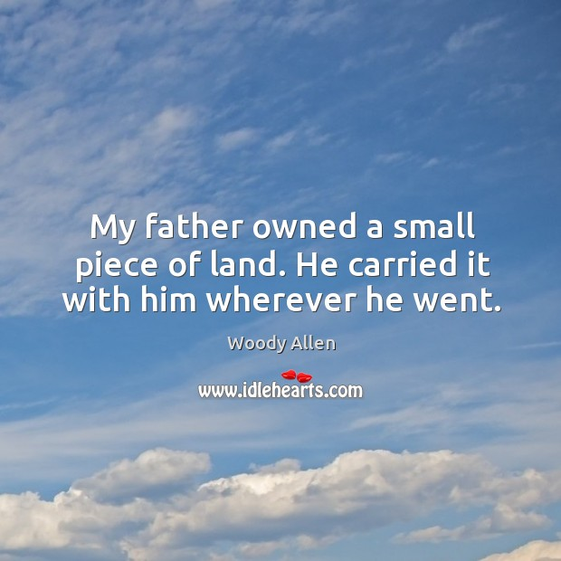 My father owned a small piece of land. He carried it with him wherever he went. Image