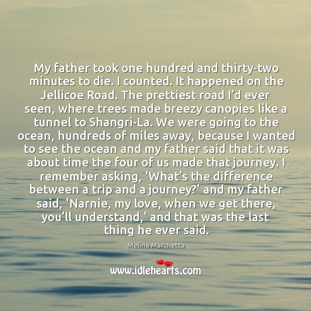 My father took one hundred and thirty-two minutes to die. I counted. Melina Marchetta Picture Quote