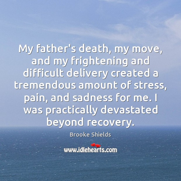 Image, My father's death, my move, and my frightening and difficult delivery created