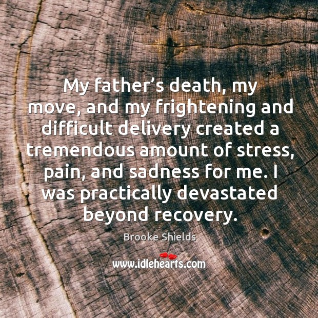 My father's death, my move, and my frightening and difficult delivery created a tremendous Image