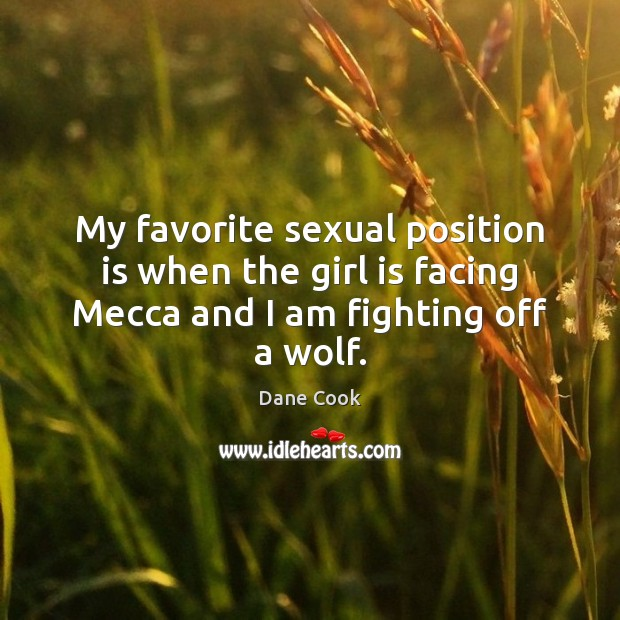 My favorite sexual position is when the girl is facing Mecca and I am fighting off a wolf. Image