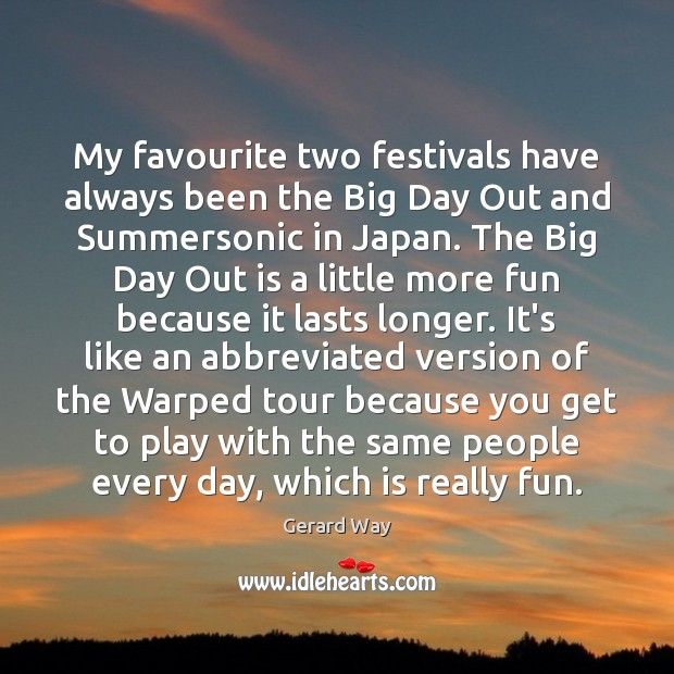 My favourite two festivals have always been the Big Day Out and Image