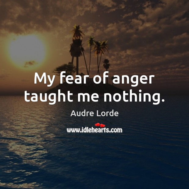 My fear of anger taught me nothing. Audre Lorde Picture Quote