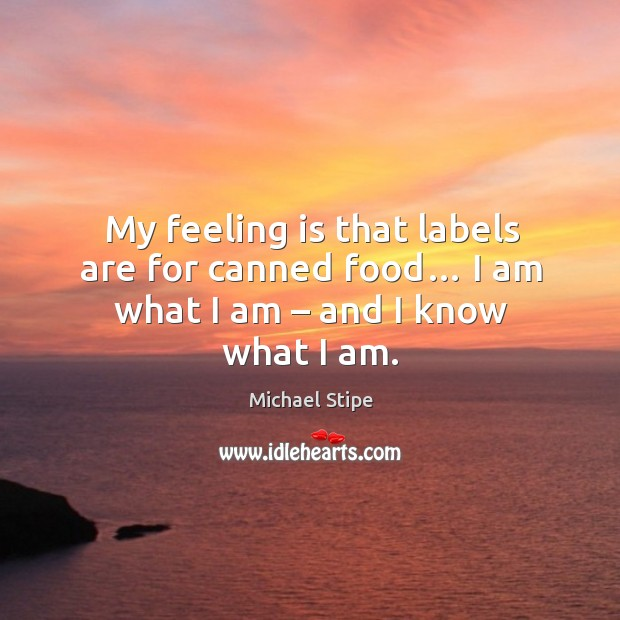 My feeling is that labels are for canned food… I am what I am – and I know what I am. Image
