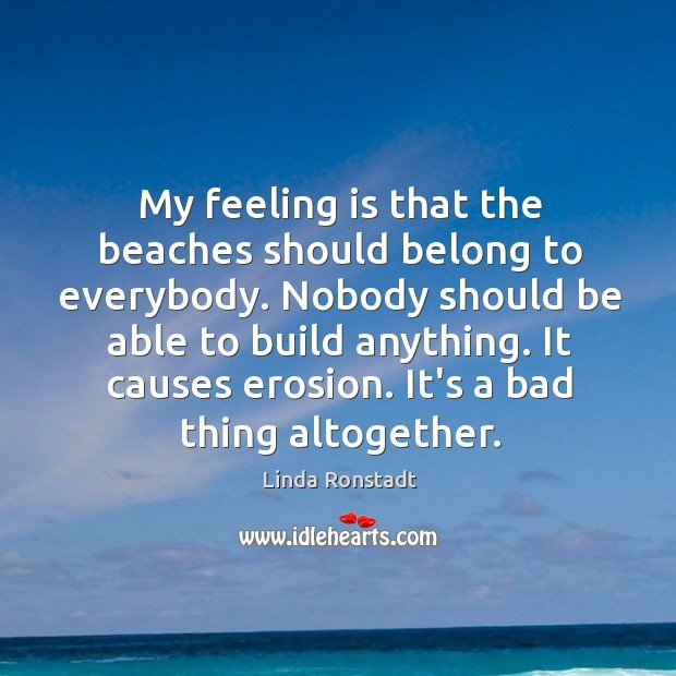 Image, My feeling is that the beaches should belong to everybody. Nobody should