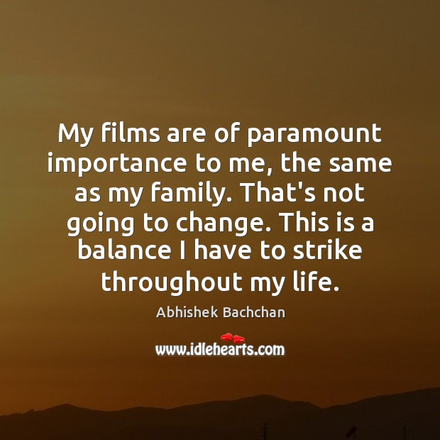 Image, My films are of paramount importance to me, the same as my