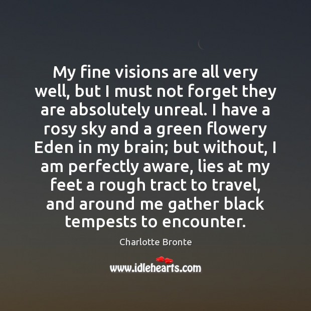 My fine visions are all very well, but I must not forget Charlotte Bronte Picture Quote