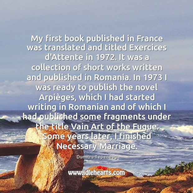 My first book published in France was translated and titled Exercices d'Attente Image