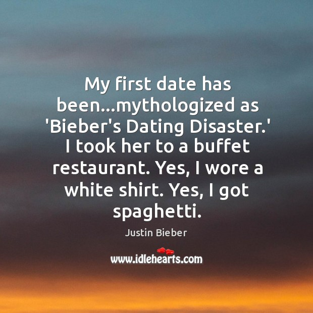 My first date has been…mythologized as 'Bieber's Dating Disaster.' I Image