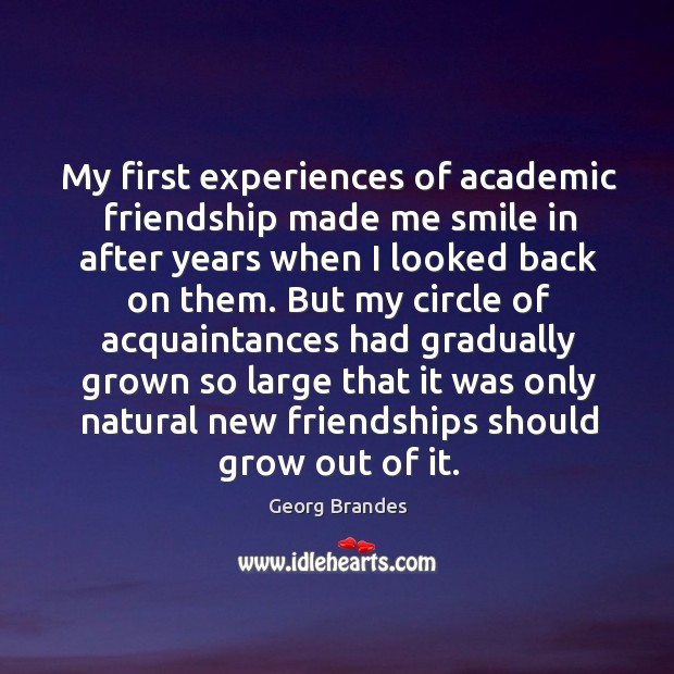 My first experiences of academic friendship made me smile in after years when I looked back on them. Georg Brandes Picture Quote