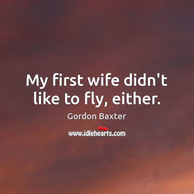 My first wife didn't like to fly, either. Image