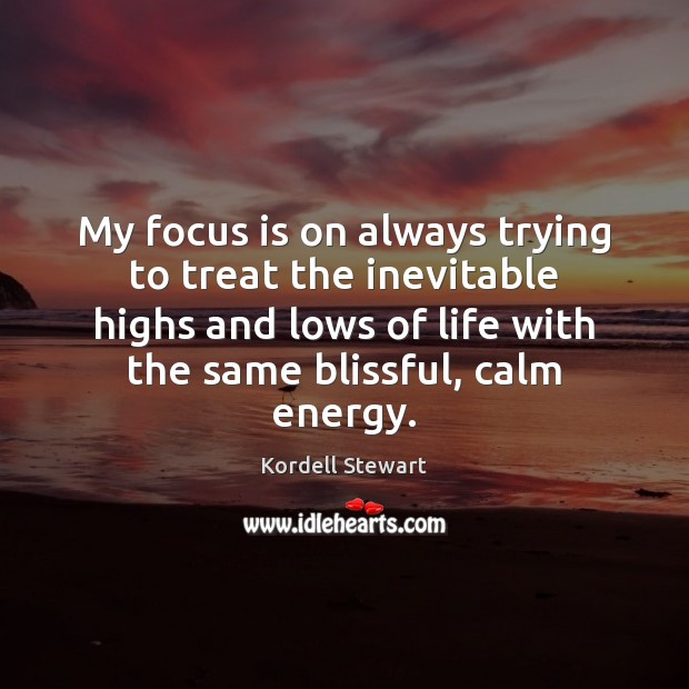 My focus is on always trying to treat the inevitable highs and Image