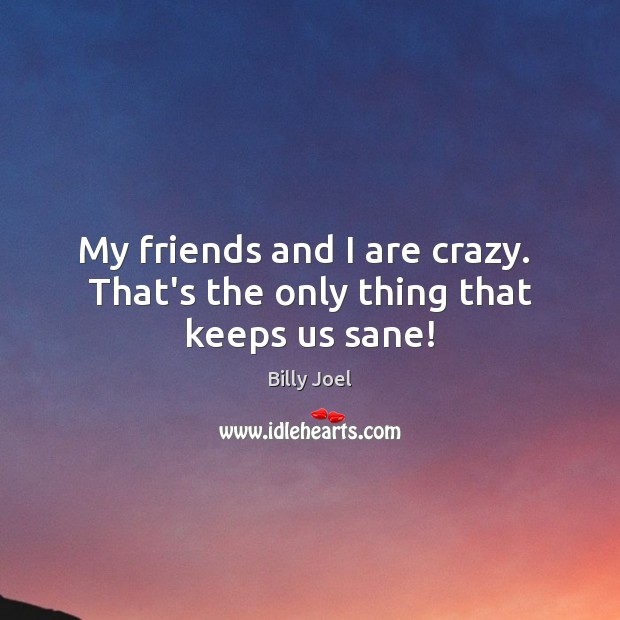 Image, My friends and I are crazy.  That's the only thing that keeps us sane!